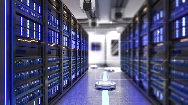 Interoperabilidade de servidor e robô móvel, comunicação de ajuda de robô móvel, renderização em 3d