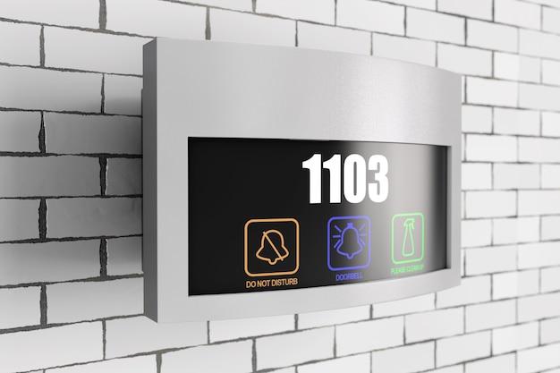 Interruptor de campainha de toque de placa eletrônica de hotel de luxo com display de número do quarto em frente à parede de tijolos. renderização 3d.