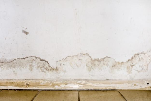 Inundação de água da chuva ou sistemas de aquecimento de piso, causando danos, descascando tinta e bolor