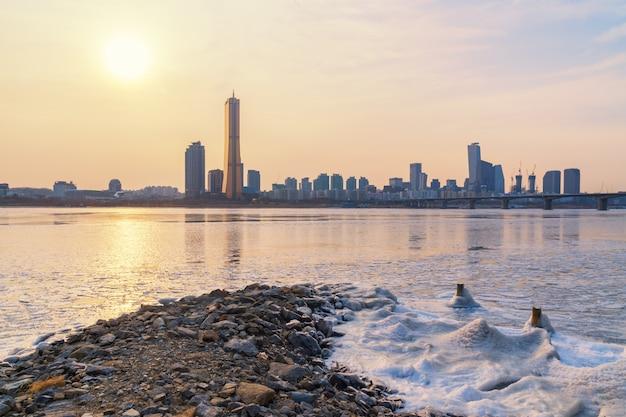 Inverno da cidade de seoul, coreia do sul.
