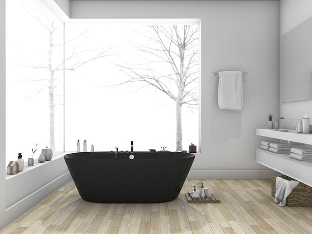 Inverno de renderização 3d e banheiro de estilo moderno com piso de madeira