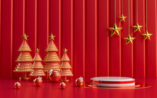 Inverno feliz natal luxuoso display vermelho e dourado pódio para apresentação de produtos renderização em 3d