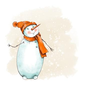 Inverno natal vintage cartão com boneco de neve bonito com um chapéu vermelho. ilustração de contos de fadas