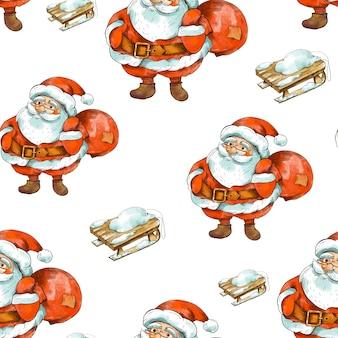 Inverno natal vintage padrão sem emenda. lindo papai noel com trenó de madeira rústico.