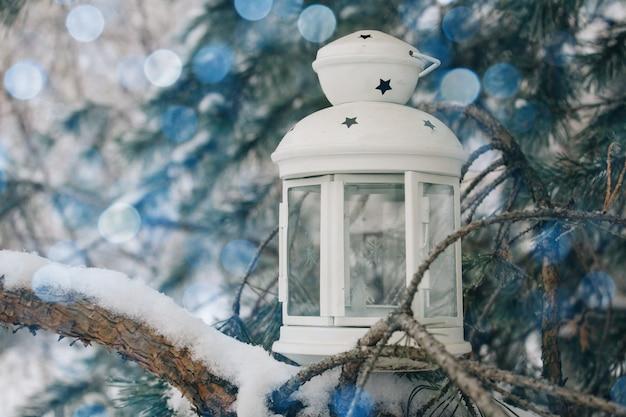 Inverno, neve natural, lanterna branca no ramo coberto de neve