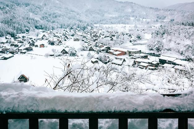 Inverno neve shirakawa ir aldeia no japão