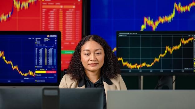 Investidor feminino bem sucedido comerciante profissional sentar sorriso olhar para a câmera rodeada pela tela do monitor do computador com estoque gráfico gráfico e relatório de análise de criptomoeda bitcoin na sala de negociação.
