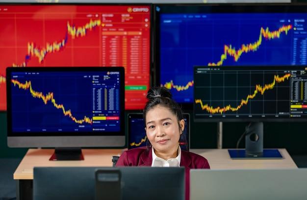 Investidor feminino bem sucedido comerciante profissional sentar sorriso olhar para a câmera rodeada pela tela do monitor do computador com estoque gráfico gráfico e relatório de crescimento de análise de criptomoeda bitcoin na sala de negociação.