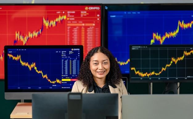 Investidora profissional de sucesso feminino sorrindo olhando para a câmera cercada pelo monitor do computador