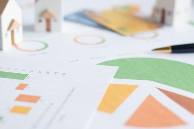 Investimento de propriedade, casas brancas em miniatura com cartões de crédito e documentos financeiros na mesa