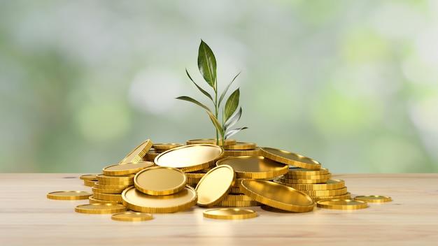 Investimento e economia de dinheiro, muitas moedas de ouro, com o crescimento de uma planta na mesa de madeira, símbolo de riqueza no fundo desfocado