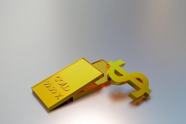 Investimento e negociação de ações de ouro, renderização de ilustração 3d