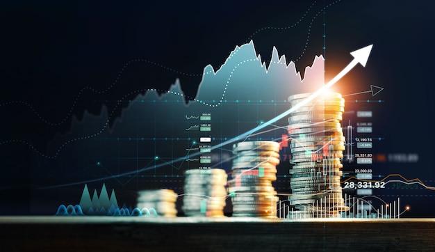 Investimento financeiro pilha de moedas para investidores financeiros com gráfico de negociação de crescimento banco