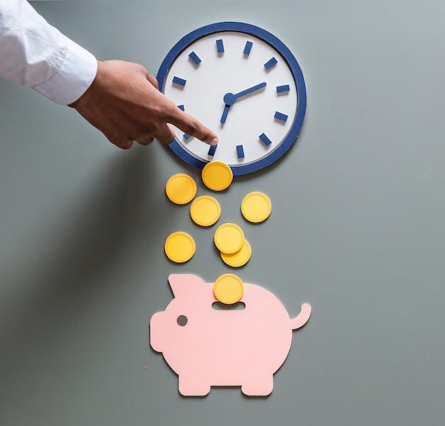 Investimento futuro da poupança do dinheiro do mealheiro