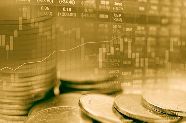 Investimento no mercado de ações de ouro, negociação de moeda financeira e gráfico