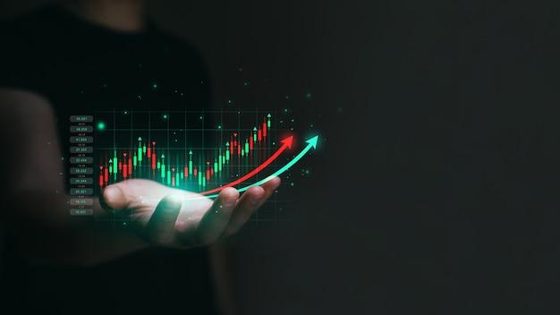 Investimento no mercado de ações e conceito de criptomoeda financeira e de investimento