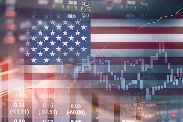 Investimento no mercado de ações, negociação de moedas financeiras e bandeira da américa dos eua