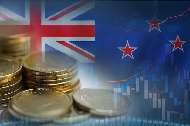 Investimento no mercado de ações, negociação de moedas financeiras e bandeira da austrália