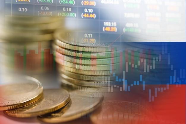 Investimento no mercado de ações, negociação de moedas financeiras e bandeira da rússia