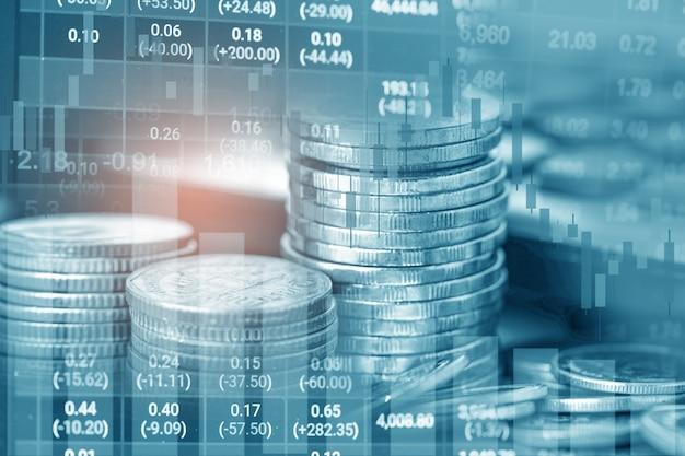 Investimento no mercado de ações, negociação de moedas financeiras e gráfico