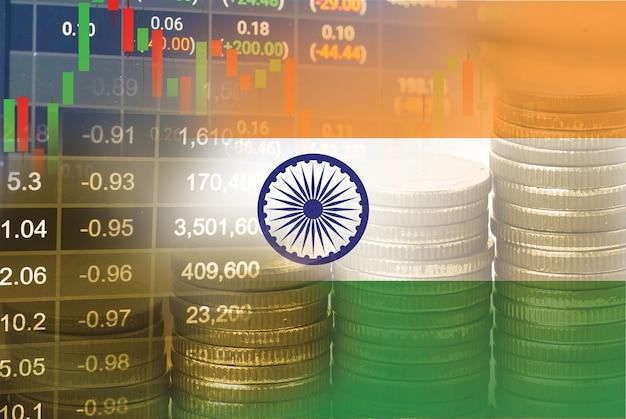 Investimento no mercado de ações, negociação financeira, moeda e bandeira da índia ou forex para análise de dados de tendência de negócios de finanças de lucro.