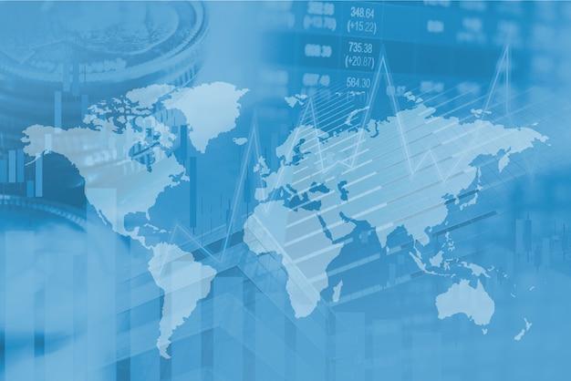 Investimento no mercado de ações, negociação financeira, moeda e gráfico com o mapa do mundo.