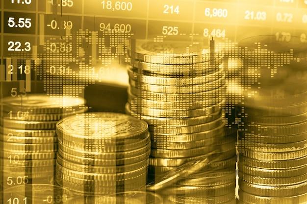 Investimento no mercado de ações, negociação financeira, moeda e gráfico gráfico ou forex para analisar o fundo de dados de tendência de negócios de finanças de lucro.