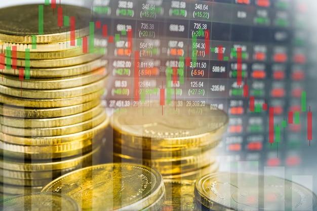 Investimento no mercado de ações negociando moeda e gráfico financeiro