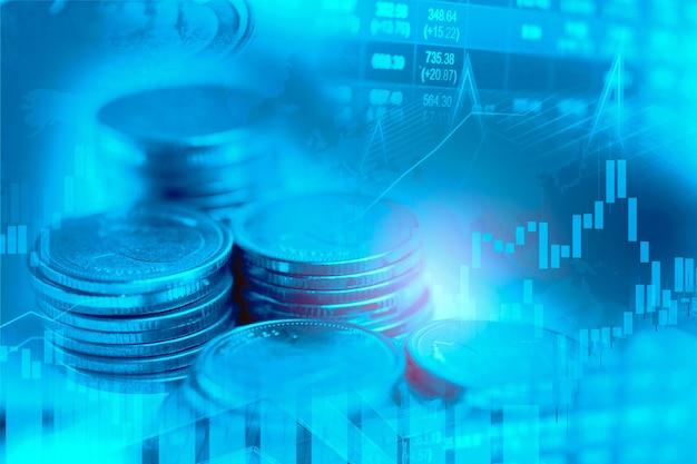 Investimento no mercado de ações negociando moeda financeira e plano de fundo