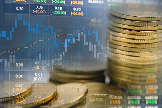 Investimento no mercado de ações, troca de moeda financeira e gráfico gráfico ou forex para analisar o lucro