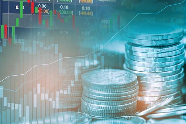 Investimento no mercado de ações, troca de moeda financeira e gráfico ou forex para análise de finanças de lucro