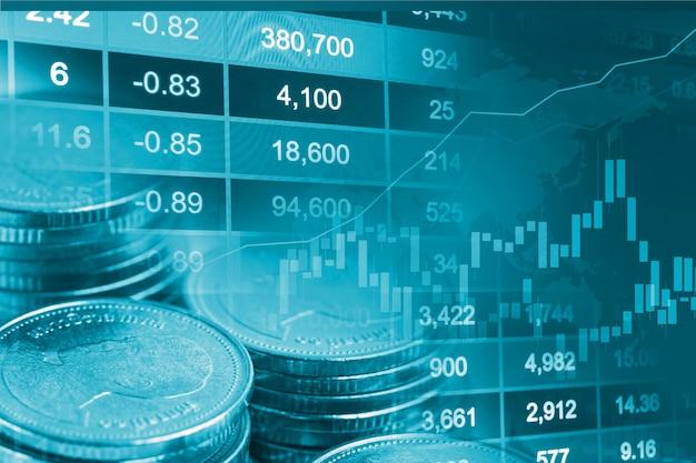 Investimento no mercado de ações, troca de moeda financeira e gráfico