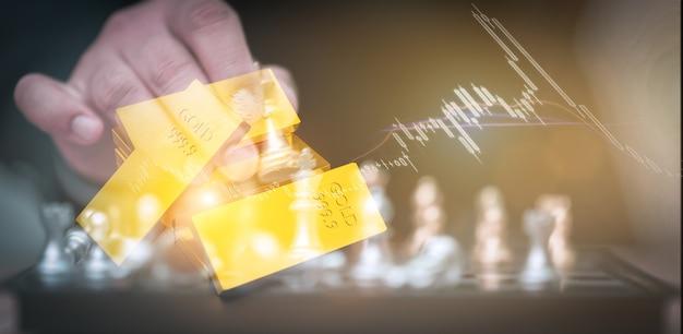 Investir em ações de ouro, conceito de comércio de ouro, renderização de ilustração 3d