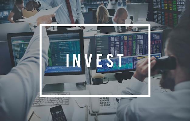 Investir negócios, contabilidade bancária, dinheiro, conceito