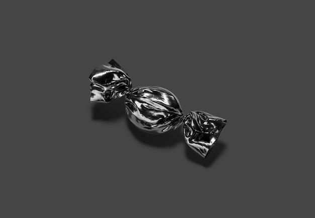 Invólucro de folha de doce duro preto em branco, superfície escura, renderização em 3d.