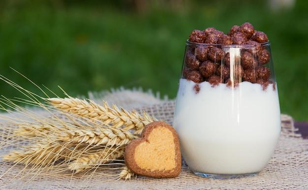Iogurte caseiro com bolas de chocolate e biscoito