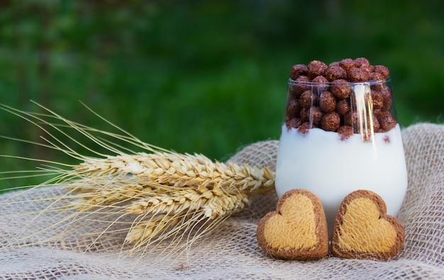 Iogurte caseiro com bolas de chocolate e biscoitos