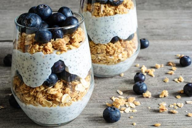 Iogurte com granola, mirtilos frescos e sementes de chia