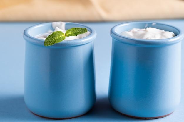 Iogurte de creme delicioso orgânico fresco saudável em bacias cerâmicas.