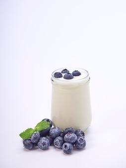 Iogurte de mirtilo e folhas de hortelã.