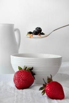 Iogurte delicioso com mirtilo
