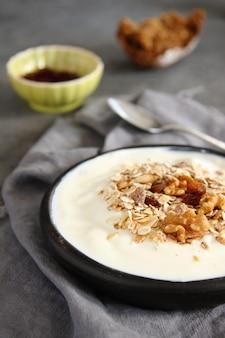 Iogurte natural com muesli na velha tigela cinza