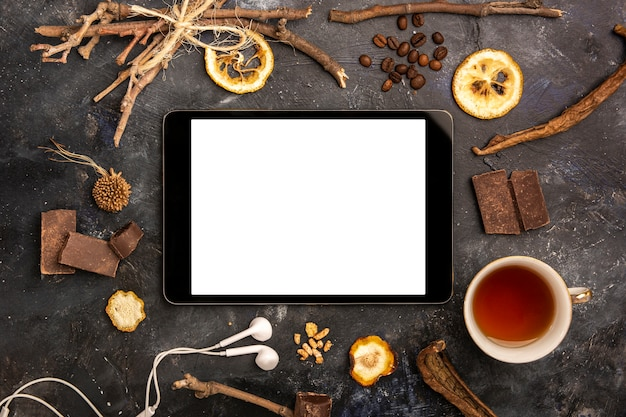Ipad mock-up com arranjo de inverno