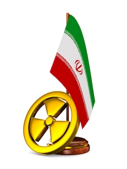 Irã e radiação no espaço em branco. ilustração 3d isolada
