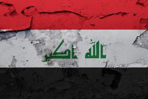 Iraque pintado a bandeira nacional da catalunha em uma parede de concreto
