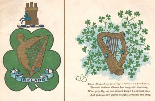 Ireland harpa antigo cartão postal