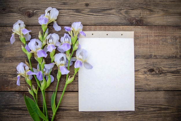 Íris lindas flores roxas, uma folha de papel com fundo de madeira