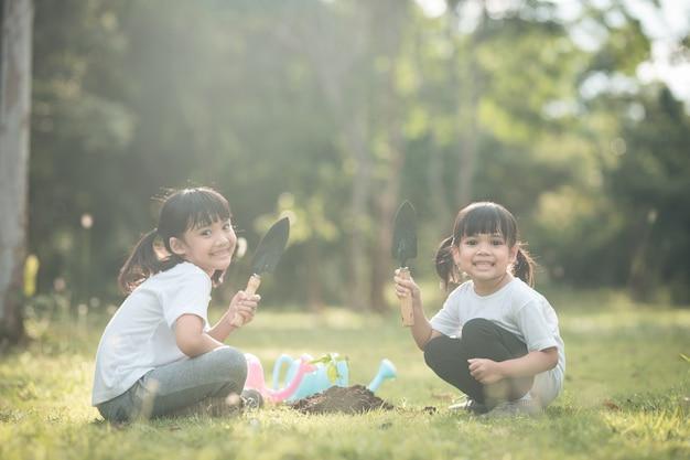 Irmão asiático plantando uma árvore jovem em solo preto juntos como salvar o mundo no jardim no dia de verão. plantando árvores. childchood e conceito de lazer ao ar livre.