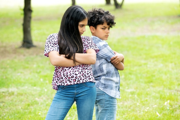 Irmão e irmã depois de uma discussão