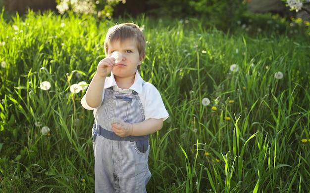 Irmão e irmã em roupas de verão brilhantes. divertido e engraçado brincar com flores brancas e amarelas fofas contra o pano de fundo de grama alta e árvores verdes exuberantes no jardim de primavera.